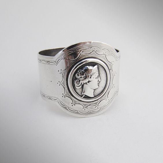 Medallion Napkin Ring Coin Silver Gorham 1870