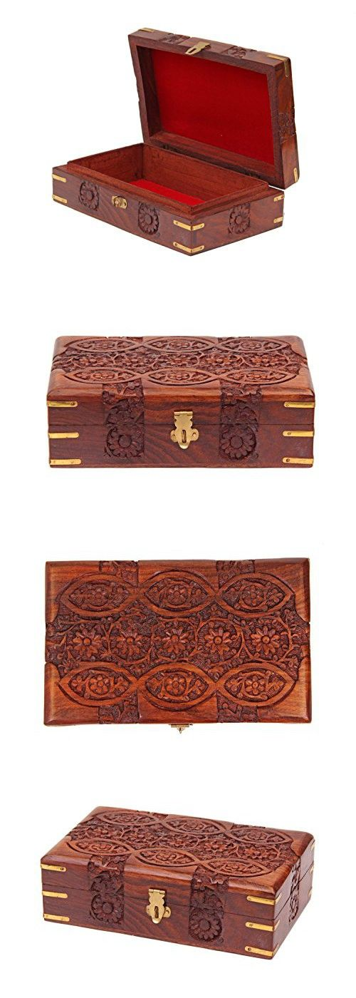 Rakhi Gift for Sister Handcrafted Decorative Wooden Jewelry Trinket Box Keepsake Storage Organizer, 8 x 5 inches