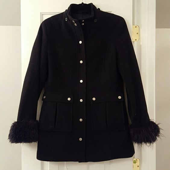 Black Wool Coat Military inspired warm wool coat with fur trim cuffed sleeves. Tho front flap button down pockets. Wool cashmere blend. Once had a hood, but I can't find it. Express Jackets & Coats