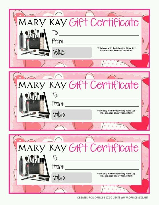 Anne Hanson Mary Kay Sales Diretor-United States Gift Certificates - printable coupon templates free