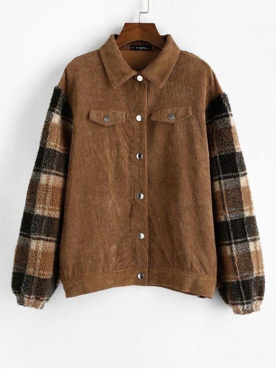 Plaid Faux Shearling Sleeve Corduroy Jacket #Jackets #Coats