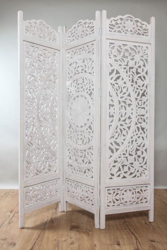 Paravent blanc en bois à motif mandala