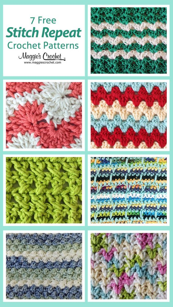 7 free stitch repeat crochet patterns: