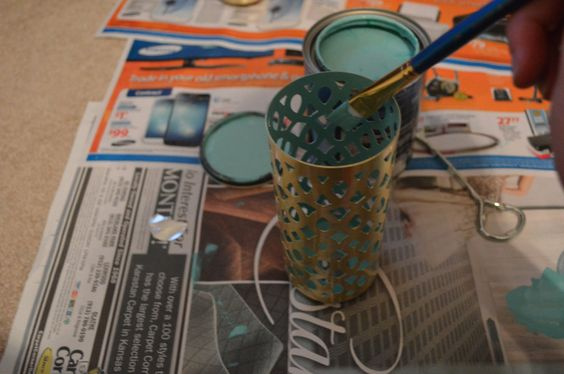 """Paint the inside of a """"soap coverlet"""" to make a fun candle holder for spring. #craft #DIY #modern"""