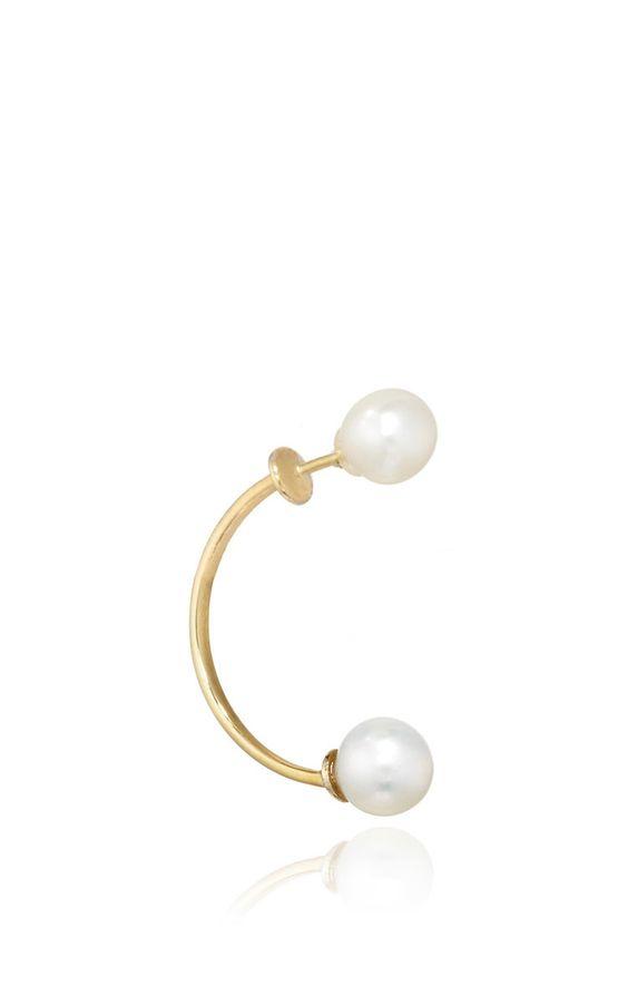 ARossGirl Finds - AROSSGIRL: DELFINA DELETTREZ Gold Double Pearl Earring
