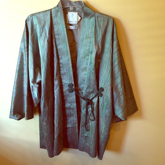 Randi Hilleso jacket. NEW PRICE Gorgeous Japanese inspired design. Randi is recognized as a fashion innovator. 100% silk. Green, blue, red, gold stripes. Silk patterned lining. Randi Hilleso Jackets & Coats