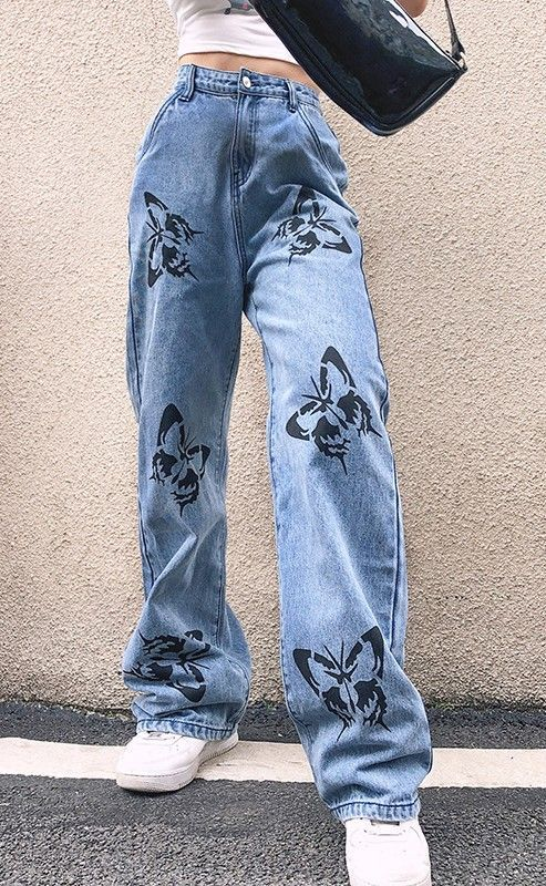 Denim Pants With Butterflies Retro Outfits Cute Outfits Aesthetic Clothes