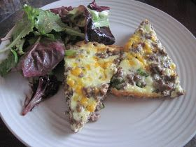 Luscious Low Carb: Jalapeno Cheeseburger Pie and Greens with Homemade Honey Mustard Vinaigrette