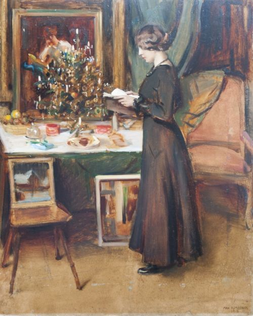 """huariqueje: """" Young Woman by a Christmas Tree - Max Rimböck , 1918 German, 1890-1956 Oil on artist's board , 63,2 x 51,1 cm """""""