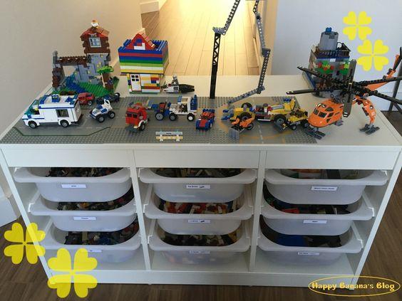 Ikeaのトロファストで収納重視レゴテーブルが完成 収納 こども