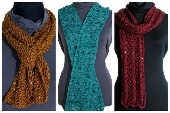 Free Knitting Patterns One Skein Scarf : One-Skein Scarf Free Knitting Patterns using sequined yarn Yarn projects ...