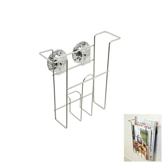 Stainless Wire Magazine Suction Cup Wall Holder Steel