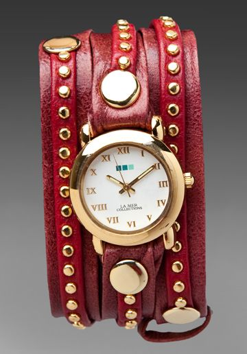 LA MER Gold Bali Stud Wrap Watch in Bordeaux/Red at Revolve Clothing - Free Shipping!