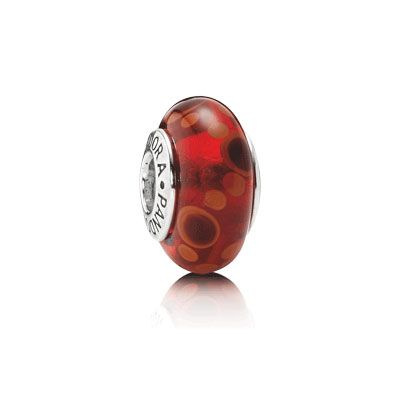 Red Bubbles - Murano glass charm with sterling silver core. Perfect for Valentine\u0026#39;s day