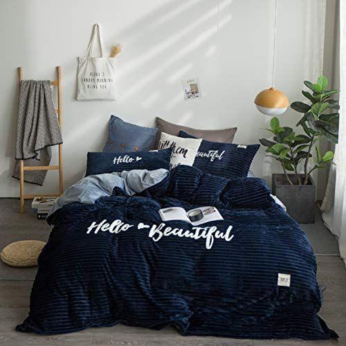 Embroidered Winter Velvet Flannel Duvet Cover Set,Padded Solid