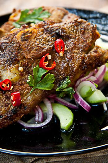 Indian Spices Lamb Chops with Cucumber Salad