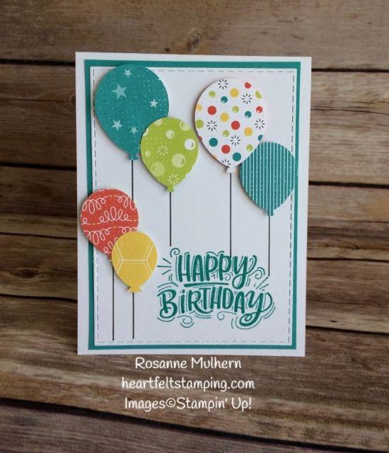 Birthday Balloons With Bubbles Fizz Heartfelt Stamping Simple Birthday Cards Handmade Birthday Cards Homemade Birthday Cards