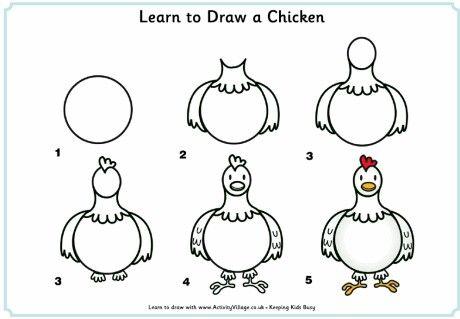 Aprende A Dibujar Una Gallina Facil Y Sencillo Como Dibujar Una Gallina Aprender A Dibujar Animales Dibujos Para Ninos