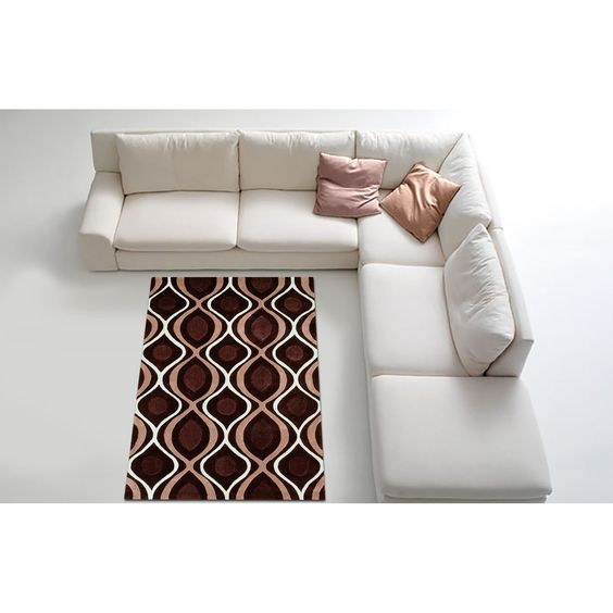 Enhance your interior decor with this lovely rug from LYKE Home. Featuring a geometric print in brown, this rug has a polyester construction for durability.