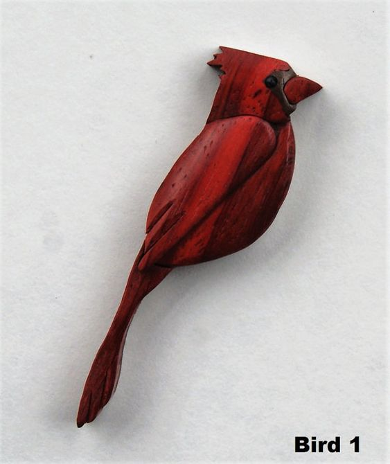 Cardinal songbird magnet intarsia wood carving by