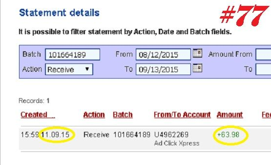 Withdrawal Proof from Ad Click Xpress. I get paid daily and I withdraw daily. Online income is possible with ACX, who is definitely paying - no scam here. This program can be a life-changer for so many people. Good things happens every day with Ad Click Xpress, system is so incredibly powerful. If you are a PASSIVE INCOME SEEKER, then Ad Click Xpress is the best ONLINE OPPORTUNITY for you. Join and increase your income with ACX, you'll like it. http://www.adclickxpress.com/?r=nina64&p=mx
