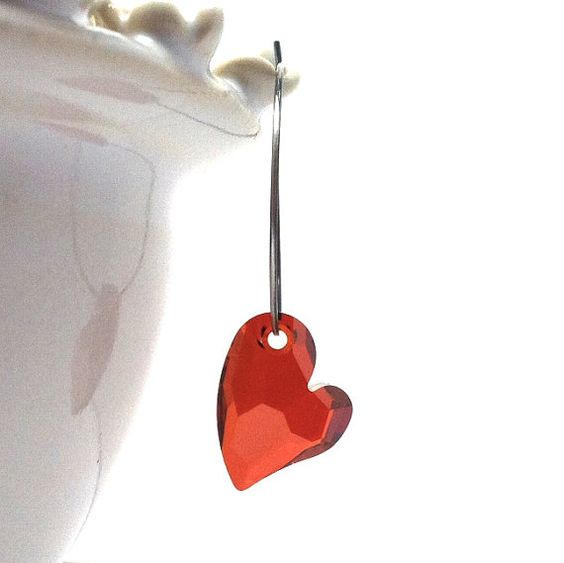 Hoop Earrings, Hearts, Red Swarvoski Crystal