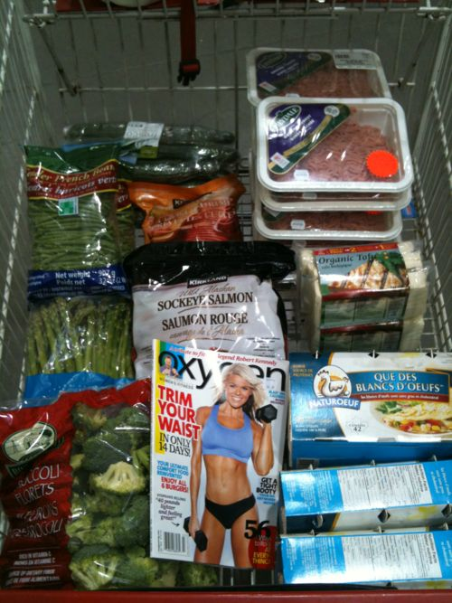 COSTCO Run!  These are our usually groceries but as you know because I am competing and have a photo shoot, there are certain things I can and can not have. After June 25th, I will be able to incorporate some of my favourite clean eats into my diet. I'm looking forward to bananas and crunchy peanut butter most.  Oxygen magazine (there's nothing wrong with buying a 4th copy)  cucumbers  green beans  asparagus  broccoli  extra lean ground turkey  shrimp  wild salmon  egg whites  tofu