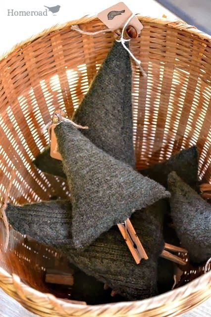 From an old sweater jacket to Boiled Wool Christmas Tree ornaments - these are so cute! / http://www.homeroad.net/ #12days72ideas