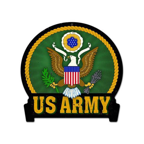 Army Round Banner Metal Sign