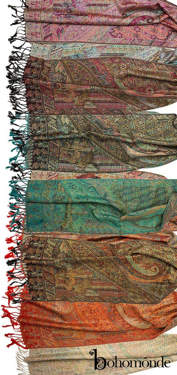 Rajana Scarf, Pashmina Indian Paisley Traditional Jacquard Scarf