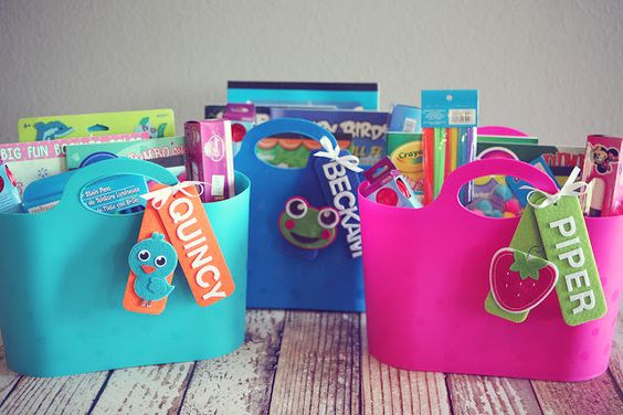 Totes filled with crafts and stuff for big siblings when a baby is born into the family.
