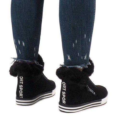 Czarne Ocieplane Futerkiem Botki Z Zamszu Nb220p Boots Fur Lined Boots Trainers Women