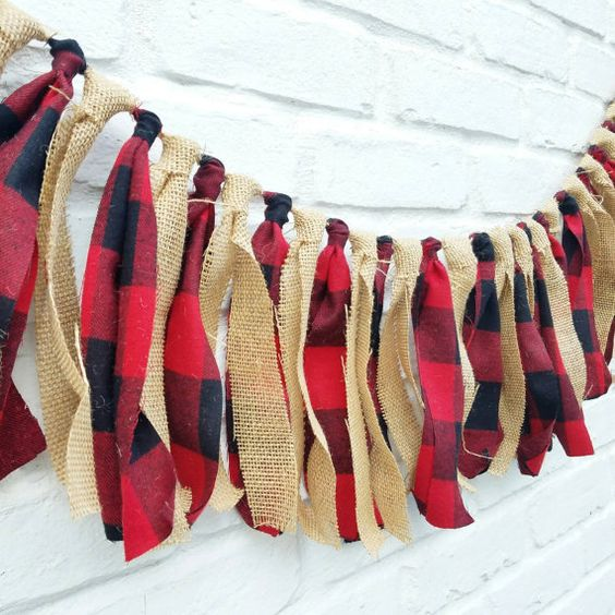 Lumberjack fabric garland. Lumberjack party by EclecticSoirees