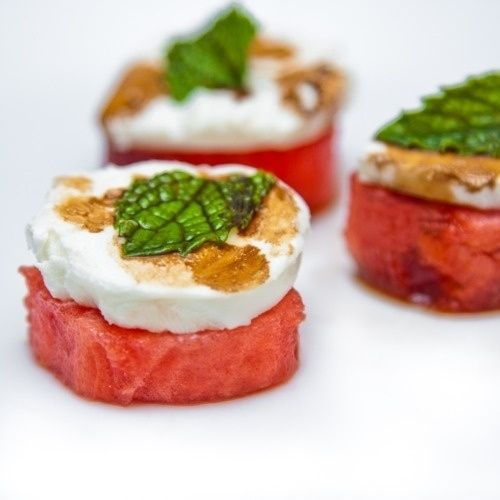Rum-soaked watermelon with goat cheese and mint. Classy rondelle. | How To Eat Nothing But Watermelon All Summer