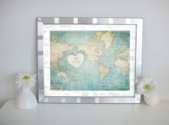 Wedding Sign, Vintage Decor for weddings  -  world map with hearts in places of geographical significance
