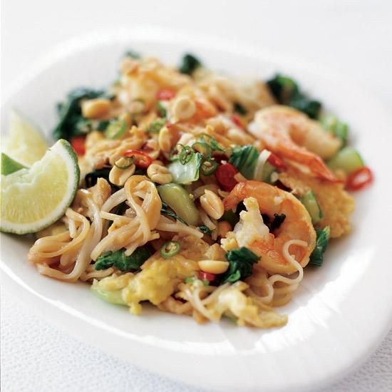 Mai Pham gives a twist to the Thai street-food staple pad see yew by adding bok choy and replacing the usual pork, chicken or beef with shrimp.