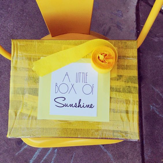 A Little Box of Sunshine: Fill it with all things yellow! Snacks, candy, or anything else you can find! Great way to brighten someone's day!