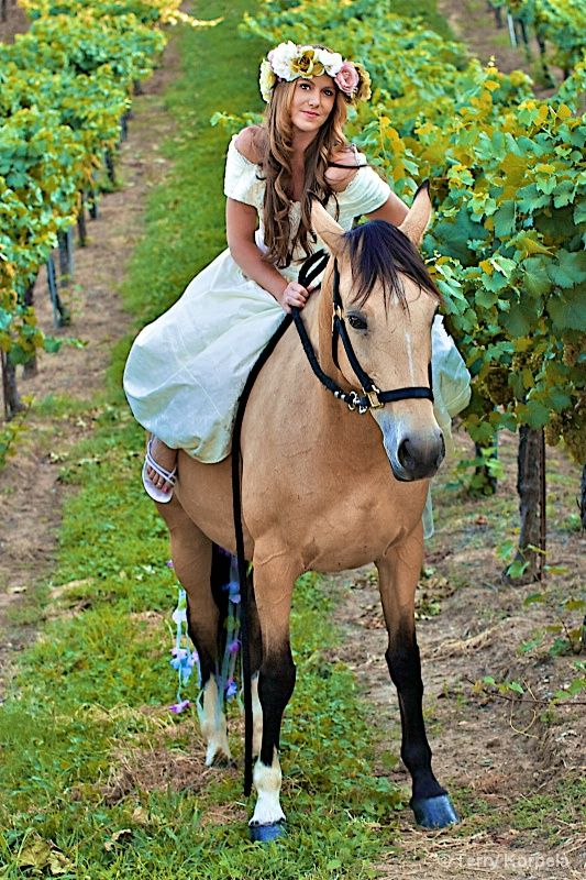 Princess taking a stroll through the vineyard