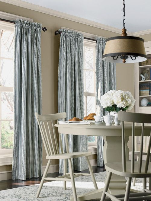 Decorating With Ticking Stripe Town Country Living Stripe Curtains Living Room Country House Decor Country Style Dining Room