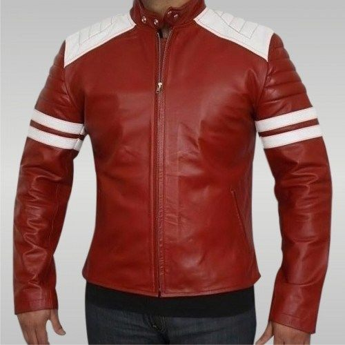 Brad Pitt Black and Red Fight Club Cowhide Leather Jacket Biker Motorcycle Armou