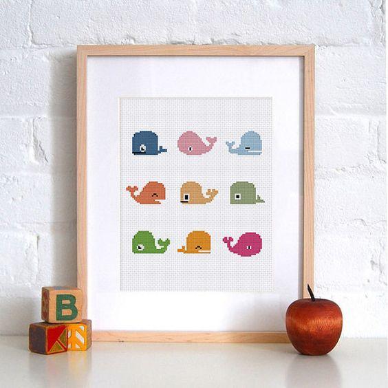 Pequeñas ballenas divertido punto de cruz patrón | Pescado de vivero de lindo bebé contado gráfico | Fácil diseño para descarga inmediata para principiantes | Decoración de la habitación de bebé