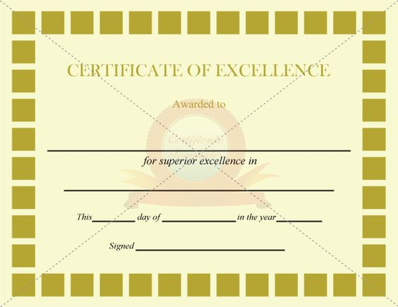 Excellence Certificate Olive Squares Template – Certificates of Excellence Templates