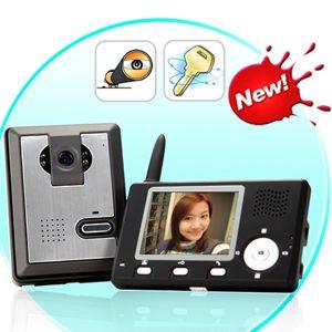 portier vidéo couleur sans fil: caméra cmos 2.4ghz + récepteur de poche avec écran 3,5
