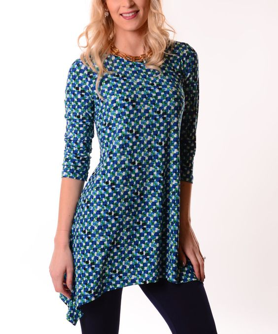 Another great find on #zulily! Lbisse Blue Geo Sidetail Tunic - Plus by Lbisse #zulilyfinds
