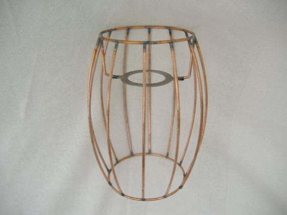 RETRO  LAMPSHADE FRAME BARREL SHAPE 7  HT  -  MOSTLY COPPER COATED STEEL FINISH
