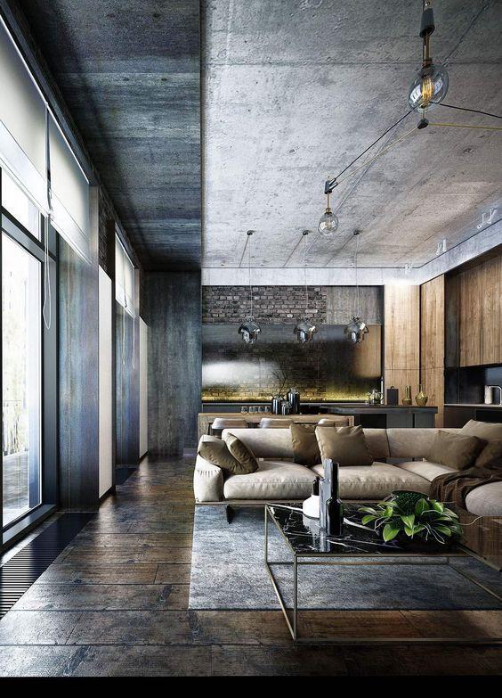 Industrial Style 3 Modern Bachelor Apartment Design Ideas Industrial Living Room Design House Ceiling Design Living Design