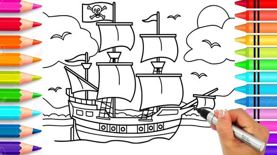Pirate Ship Coloring Page Pirate Coloring Book Printable Pirate Ship Coloring Books Coloring Pages Easy Coloring Pages