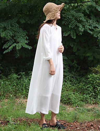 Ample Robe Aux femmes Sortie / Décontracté / Quotidien simple,Couleur Pleine Col…