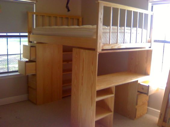 Full size loft bed with desk and dresser by lala for Queen bunk bed with desk