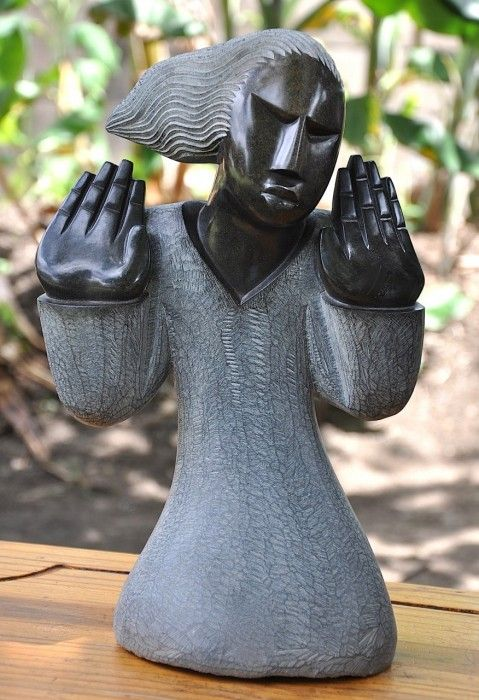 Shona stone sculpture lady hands by rufaro ngoma